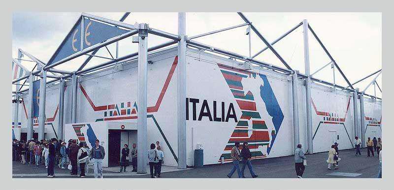 طراحی سالن و غرفه نمایشگاهی - استفاده از سازه سبک در ساخت سالن ایتالیا در اکسپو 1986 ونکور کانادا